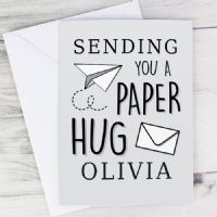 Personalised Grey Hug From Afar Card - ideal for any occasion - free postage - COVID-19, isolating